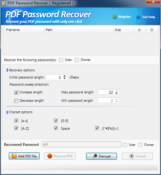 PDF Password Recover Screen shot