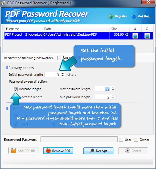 how to recover PDF password